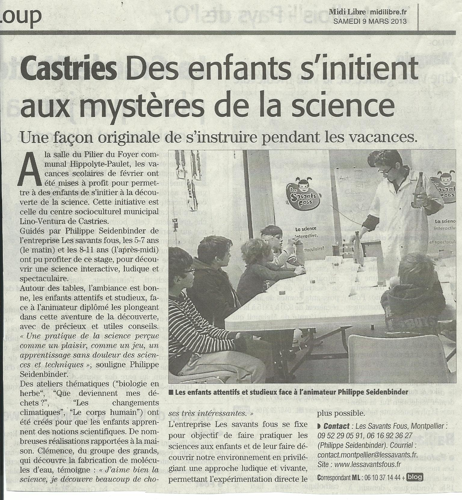 article ML stage LSF csm Castries