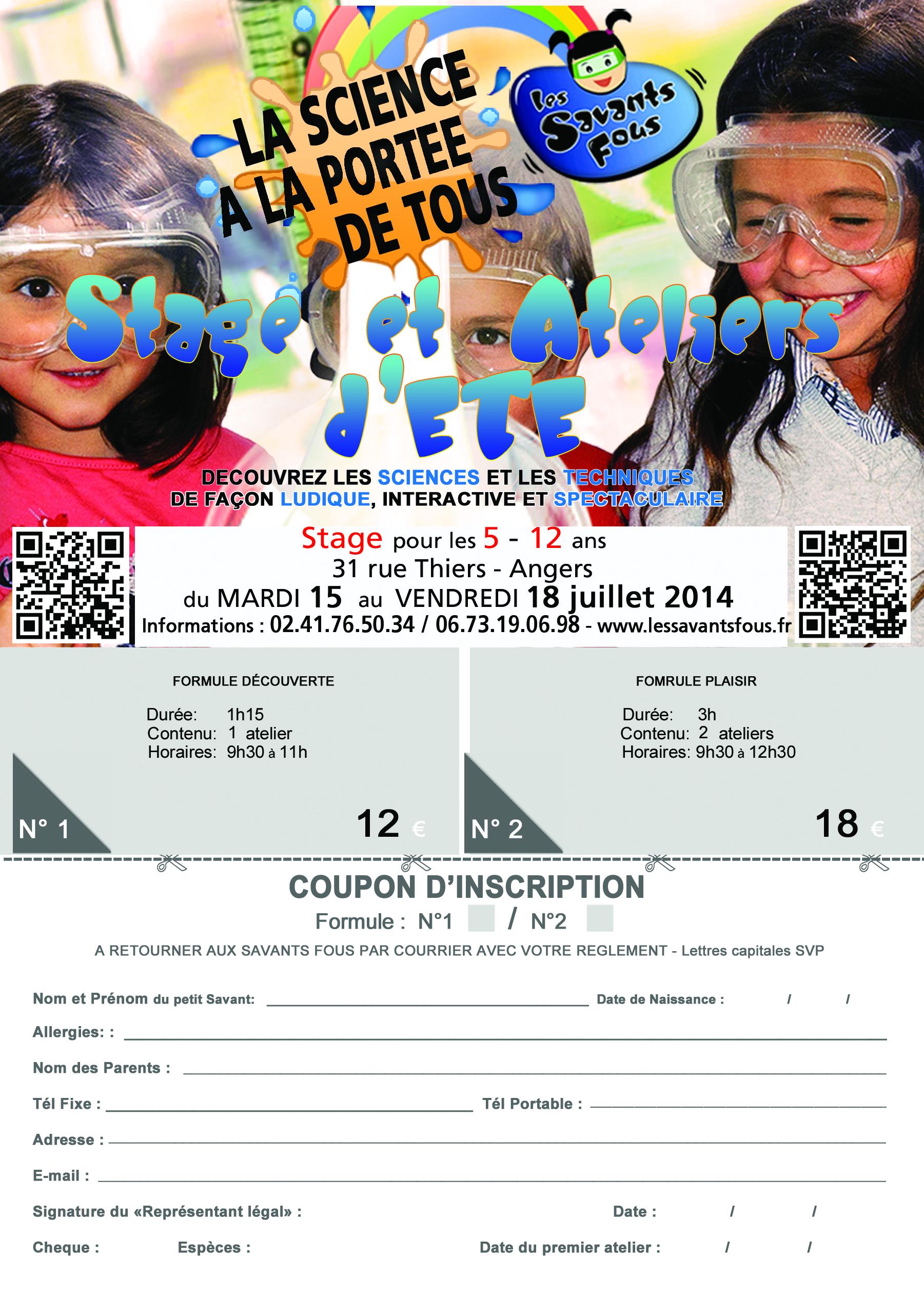 Bulletin d'inscription aux Stages et Ateliers des Savants Fous pour la semaine du 10 au 14 Mars 2014